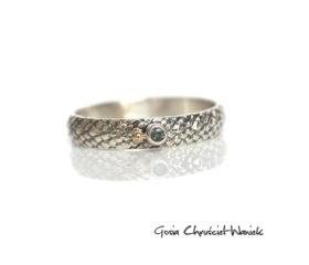 Smoczy pierścionek z zielonym szafirem