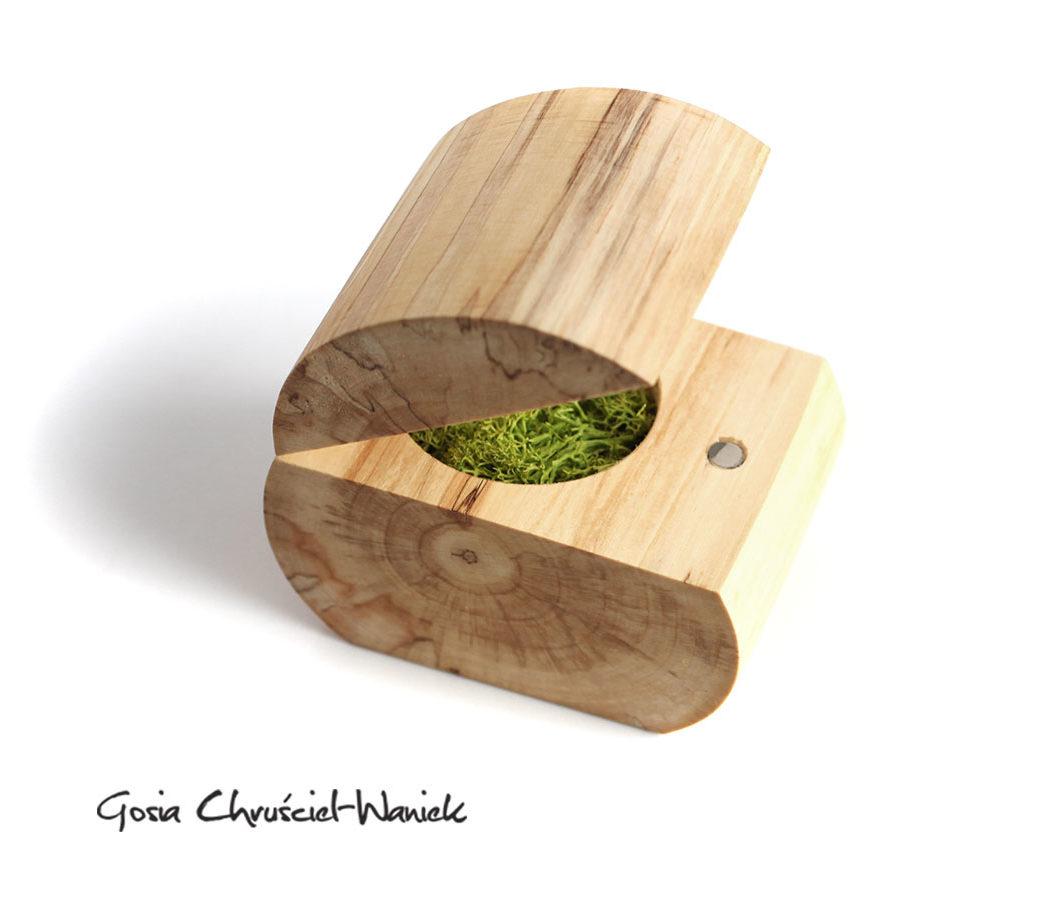 Drewniane pudełko z brzozy na biżuterię, obrączki ślubne