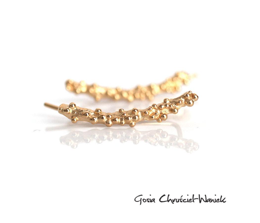 Nausznice, złocone srebro