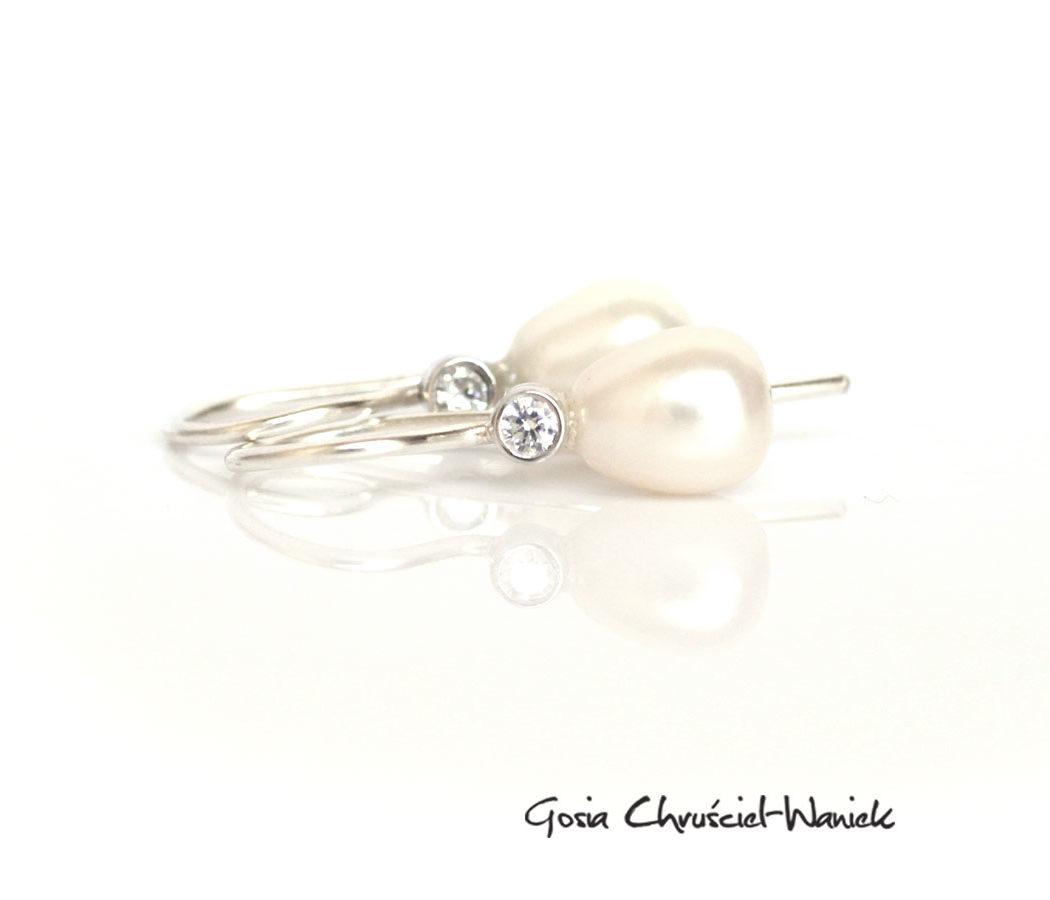 Srebrne kolczyki z perełkami sopelkami i cyrkoniami