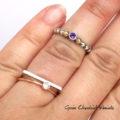 Srebrno-złoty pierścionek z ametystem