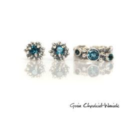 Komplet biżuterii z topazami London Blue