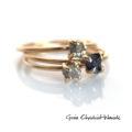 Surowe diamenty i szafir w złocie