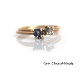 Surowy diament i surowy szafir w złocie