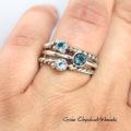 Srebrno złote pierścionki z topazami London Blue, Sky Blue i Swiss Blue