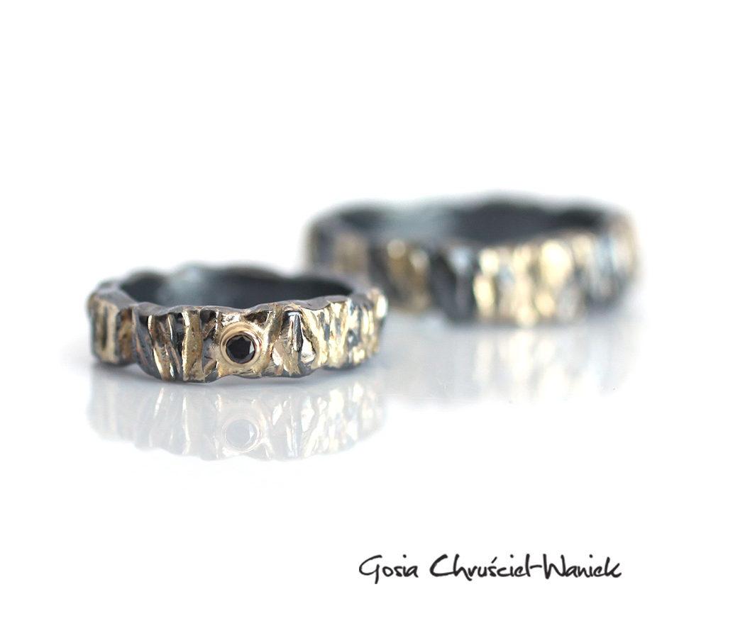 Ręcznie robione, unikatowe obrączki ze srebra i złota