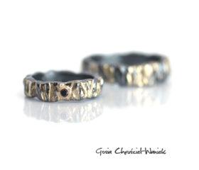 Kora – srebrno złote obrączki z diamentem