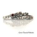 Srebrne, organiczne pierścionki z kamieniami i perłami