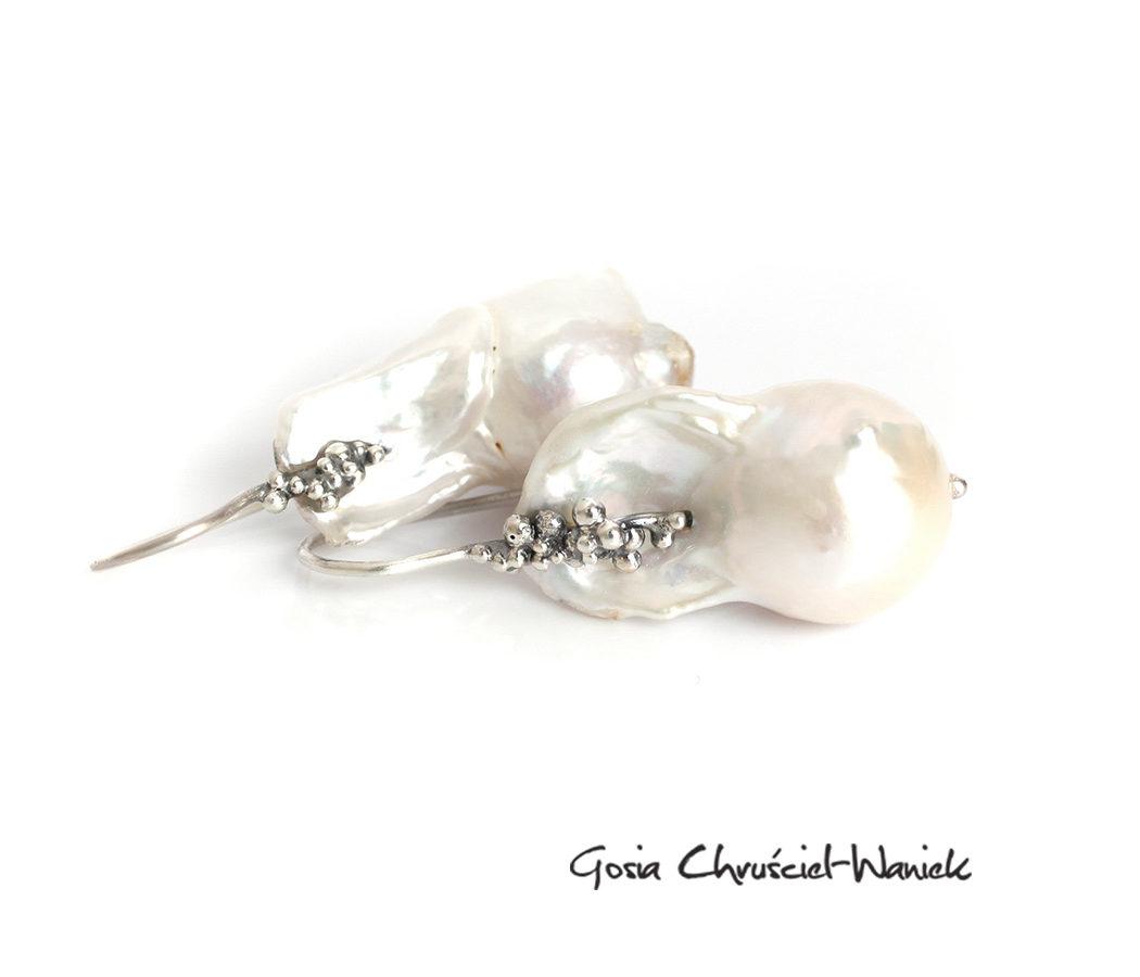 Kolczyki z perłami barokowymi
