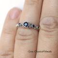 Naturalne szafiry w srebrze - pierścionek zaręczynowy