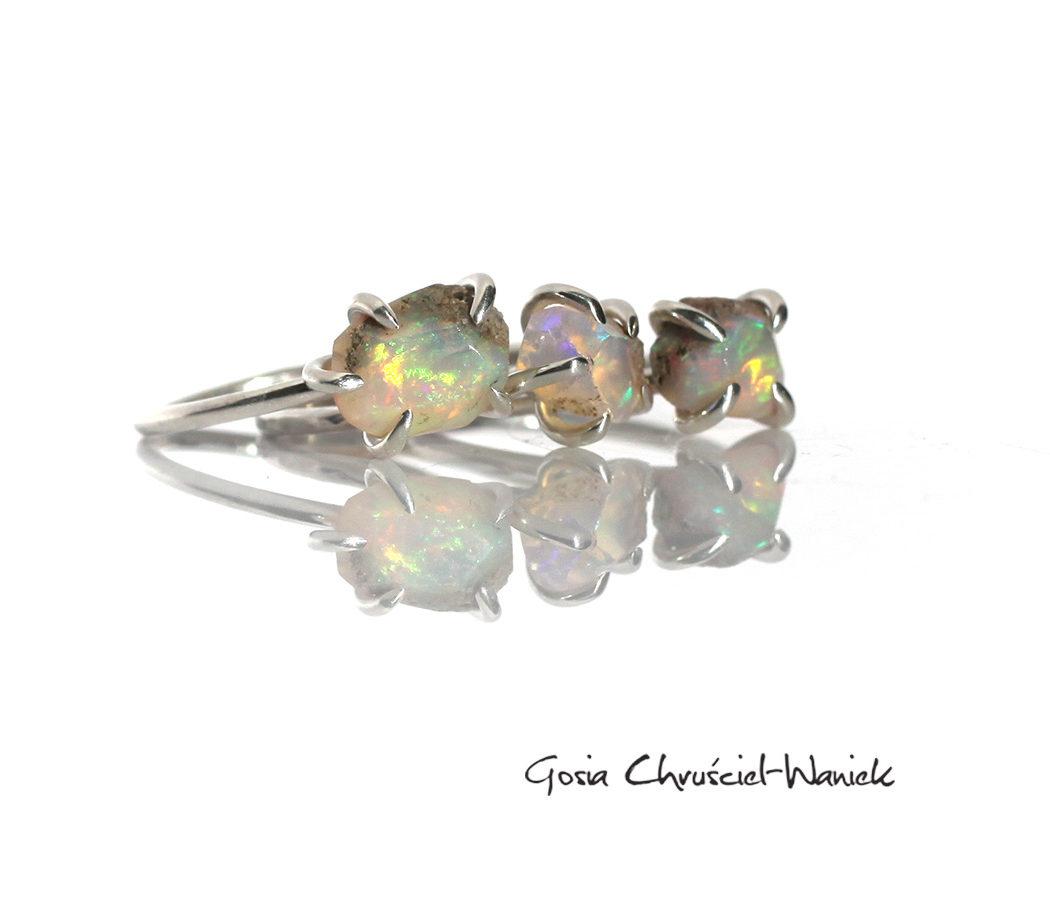 Surowe opale w srebrze