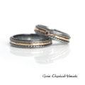 Czarny diament, złoto i srebro - obrączki ślubne na zamówienie