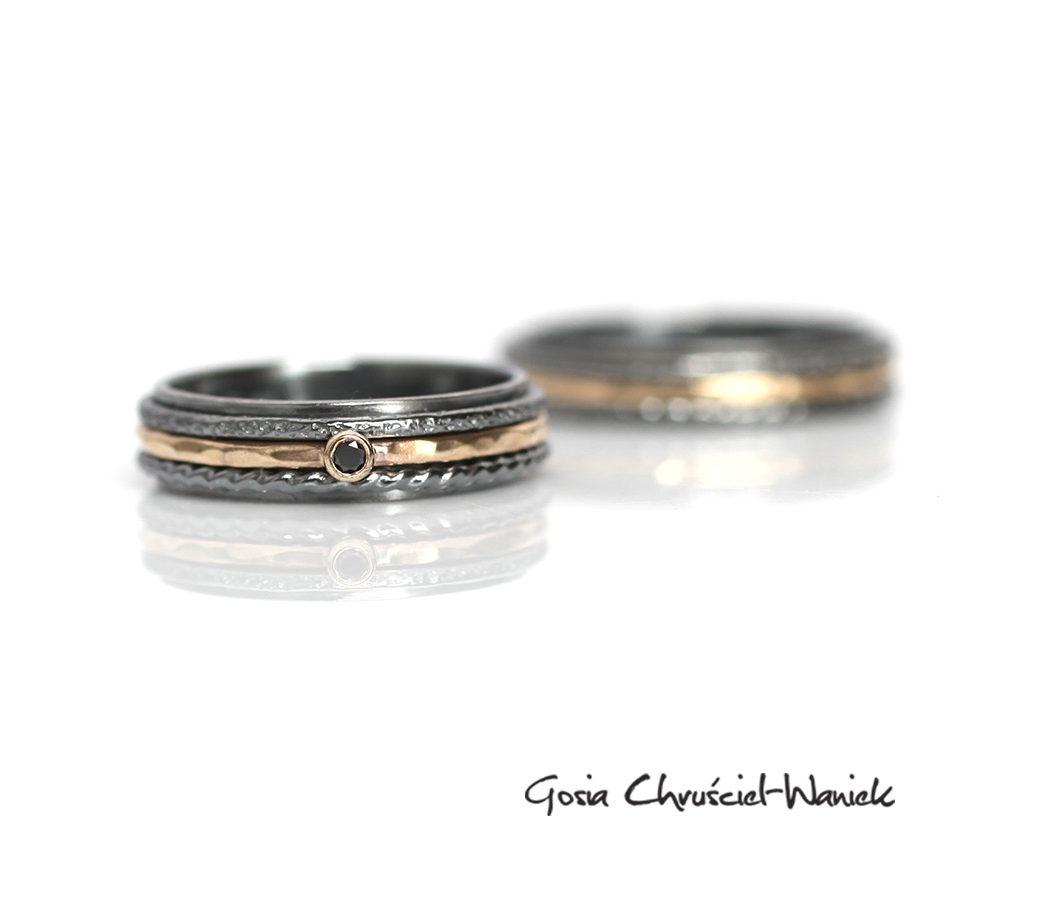 Srebrno złote obrączki z czarnym diamentem