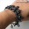 Srebro, perły - bransoleta w stylu boho