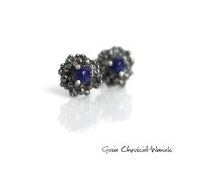 Organiczne kolczyki sztyfty z Lapisem Lazuli