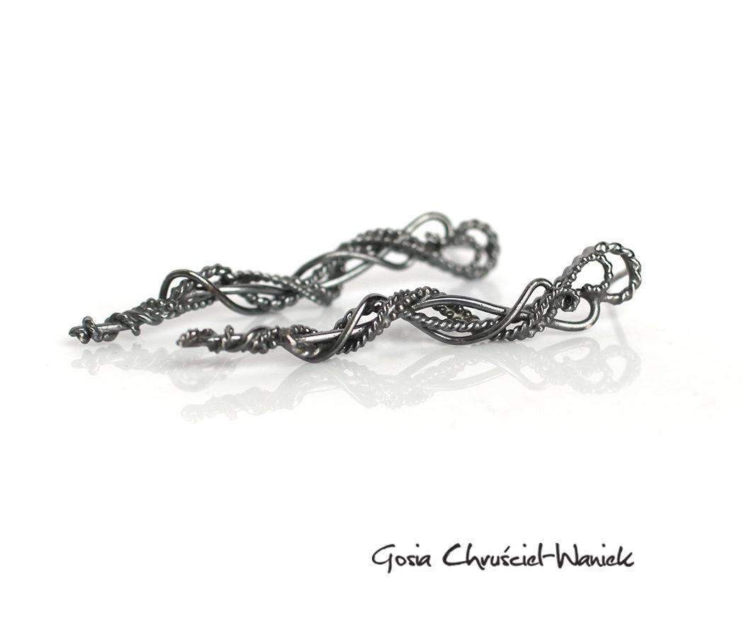 Ażurowe sopelki - kolczyki sztyfty ze srebra