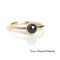 Złoty pierścionek z czarnym diamentem