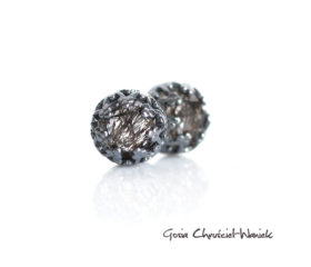 Kwarc z rutylem w czarnym srebrze – kolczyki