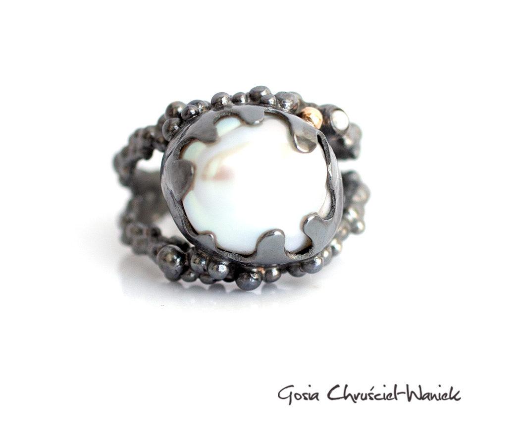 Piękna barokowa perła w srebrze