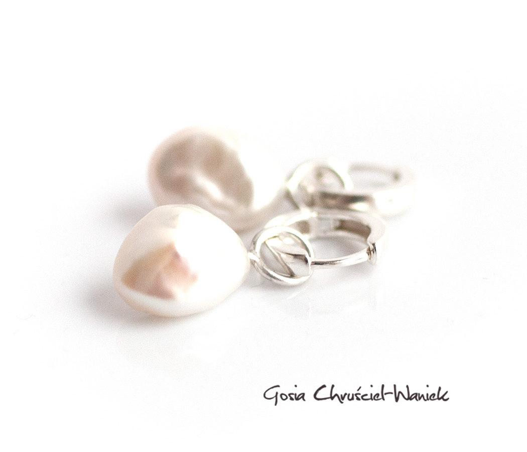Srebro i perły barokowo- kolczyki
