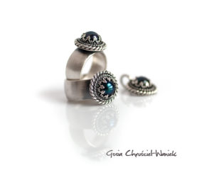 Czarne perły i oksydowane srebro