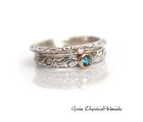 Zestaw pierścionków z brylantem i aleksandrytem