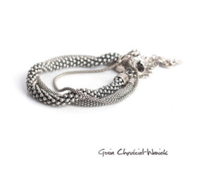 Zestaw srebrnych oksydowanych bransolet