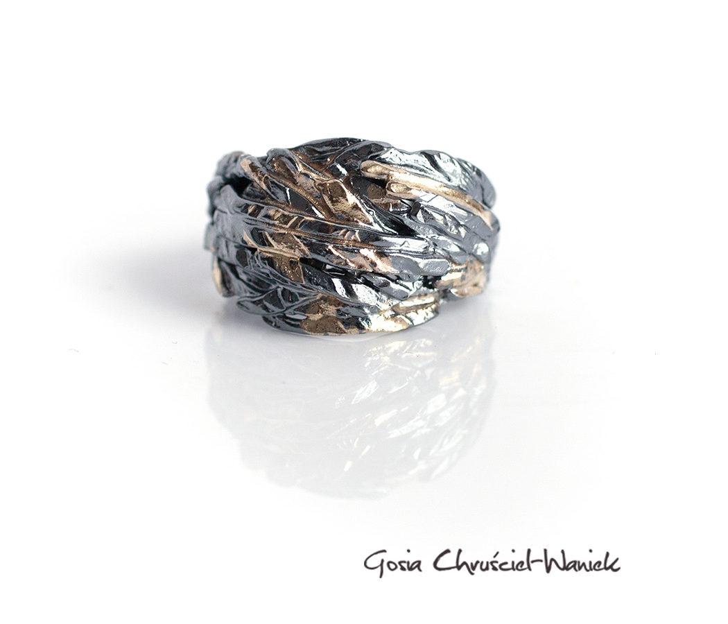 Czarne srebro, złoto - autorska obrączka