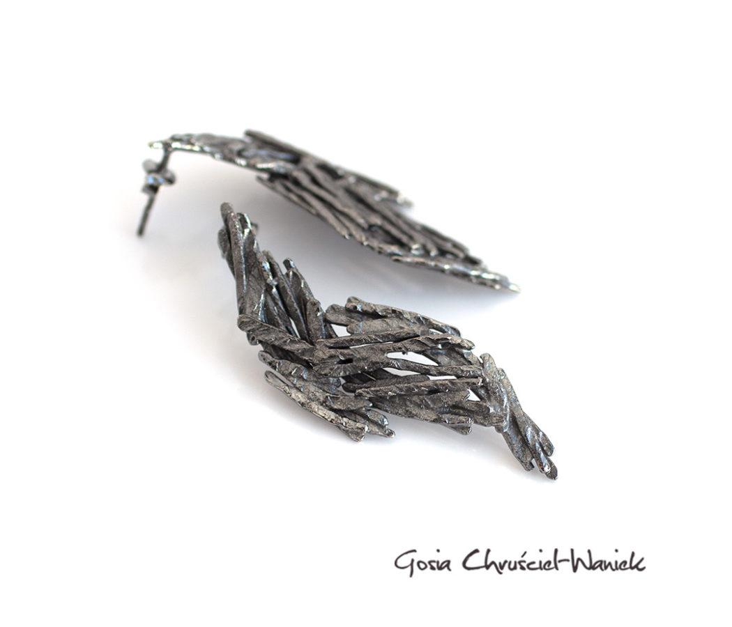 Czarne skrzydła - kolczyki