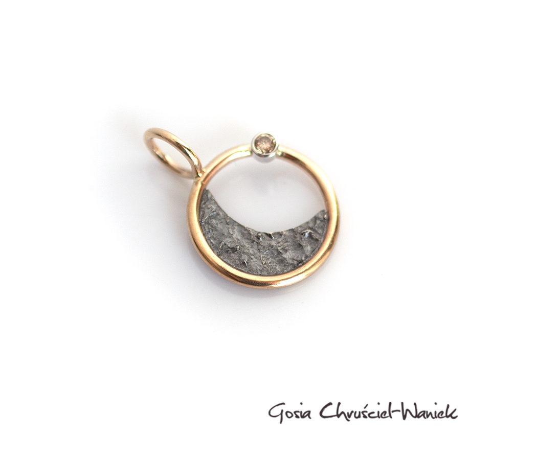 Złoto srebrny wisior złoto, brylant, Wenus, księżyc i słońce