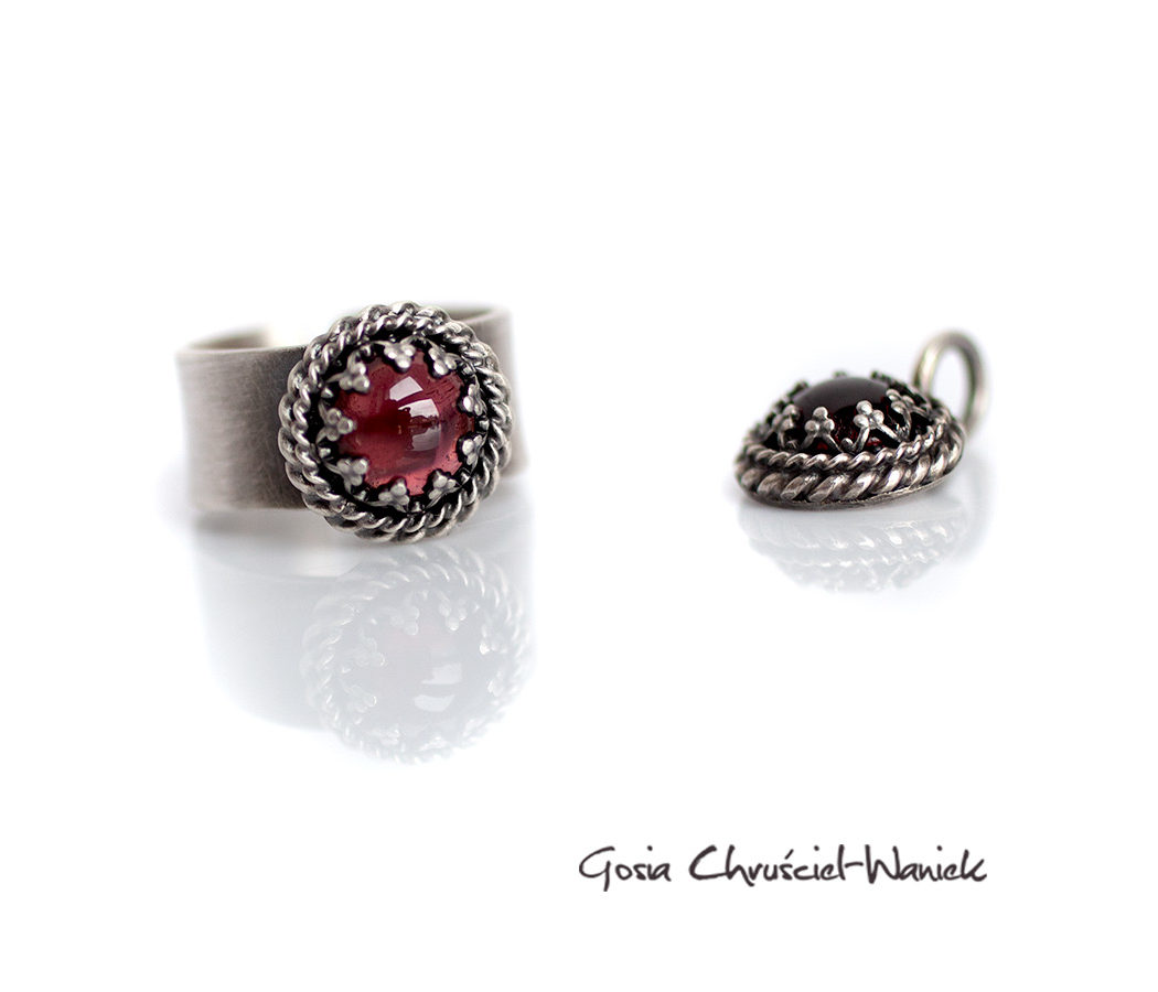 Srebro i rodolity - komplet biżuterii