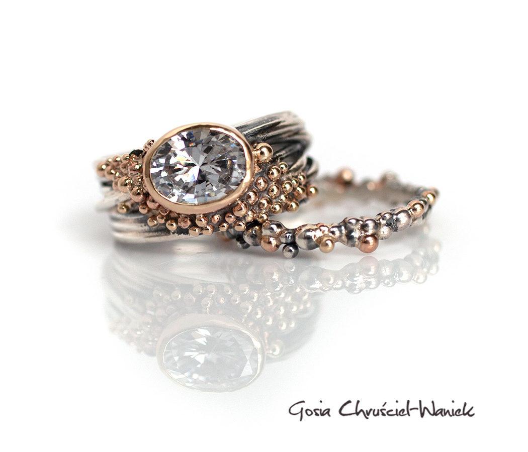Srebrn złóty komplet koktajlowych pierścionków