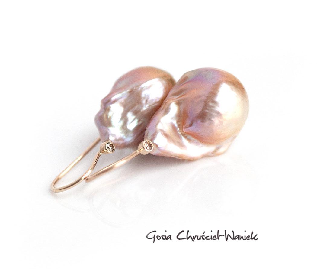 KOlczyki z perłami i brylantami