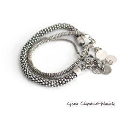 Zestaw 3 srebrnych bransolet