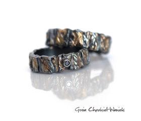 Obrączki ślubne Kora z diamentem