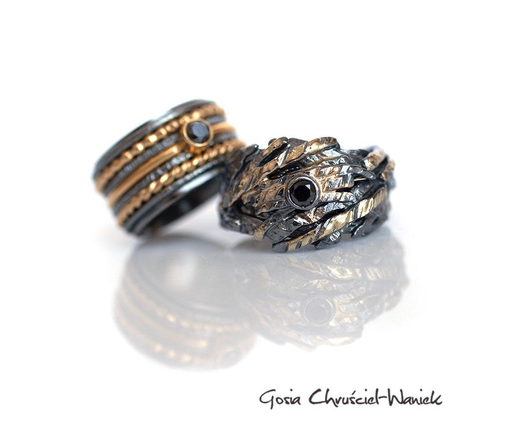 Autorskie obrączki ślubne srebro i złoto