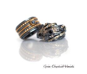 Oksydowane srebro i złoto – obrączki ślubne