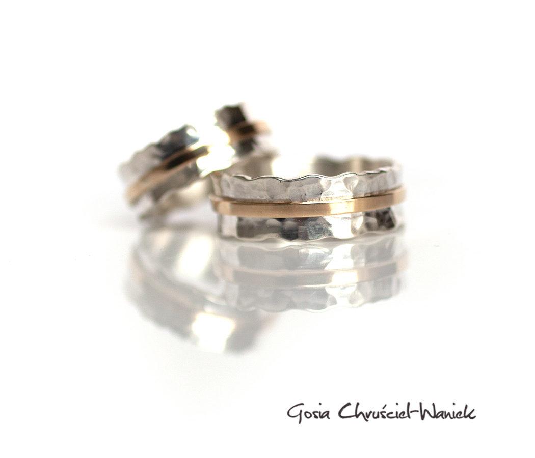 Srebrno złote autorskie obrączki ślubne
