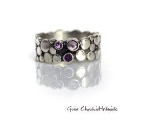 Paths – srebrny pierścionek z ametystami