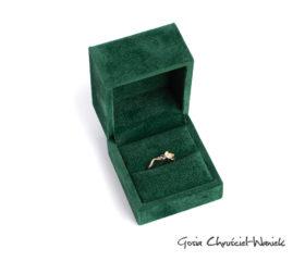 Aksamitne zielone pudełko w stylu retro