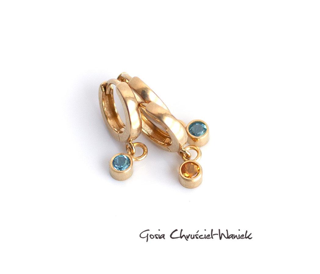 Złocone kolczyki z topazami sky blue i cytrynami