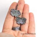 Organiczne kolczyki liście w srebrze